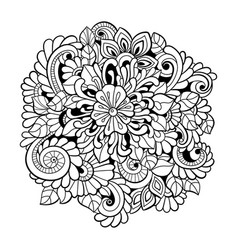 black and white seamless pattern in a zentangle st vector image