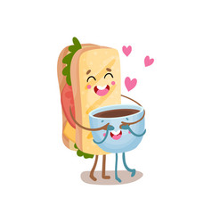 cute sandwich and cup of coffee characters are vector image