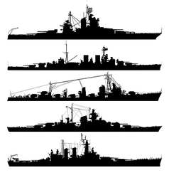 naval warship silhouettes vector image vector image
