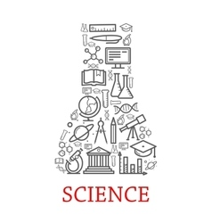 ouline science elements icons vector image vector image