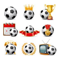 soccer ball icon set vector image vector image