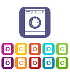 Washing machine icons set flat vector