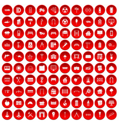 100 architecture icons set red vector