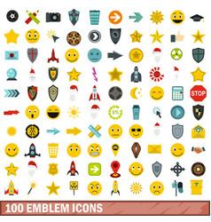 100 emblem icons set flat style vector