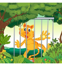 A forest with a tiger inside a cage vector image