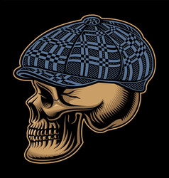 a skull in a checkered cap vector image