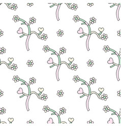 Abstract branches with hearts and flowers hand vector