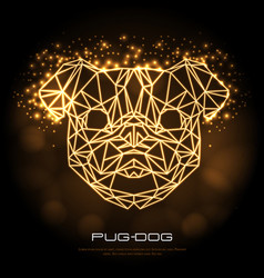 Abstract polygonal tirangle animal pug-dog neon vector