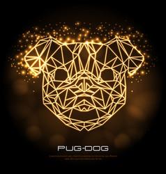 abstract polygonal tirangle animal pug-dog neon vector image