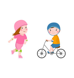 activity boy on bike young fun sport happy child vector image