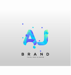 Aj initial logo with colorful template vector
