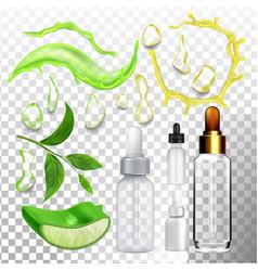 Aloe drop essence and empty bottle set vector