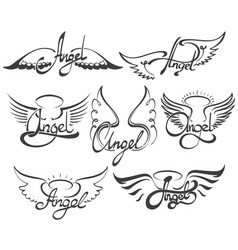 Angel wings set vector