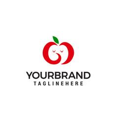 apple fruit cute logo design concept template vector image