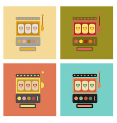 Assembly flat icons slot machine vector