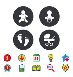 Baby infants icons buggy and dummy symbols vector