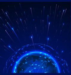 big data concept data streams around global vector image