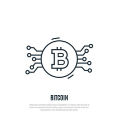 bitcoin line icon cryptocurrency vector image