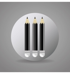 Black and gray pencils icon vector