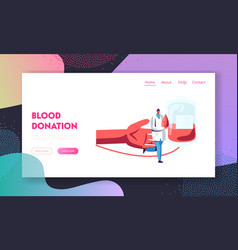 Blood donation donor bank website landing page vector