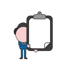 businessman character holding clipboard with vector image