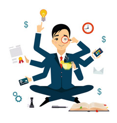 businessman with multitasking and multi skill vector image