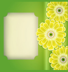 Cactus with flowers blank page on green vector