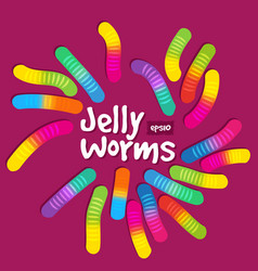Candy gummy jelly worms on purple background vector