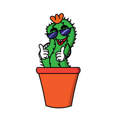 cartoon party cactus vector image