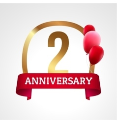 Celebrating 2 years anniversary golden label with vector