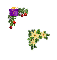 christmas decorations with fir tree collection vector image