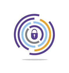 Circle line color with padlock in center vector