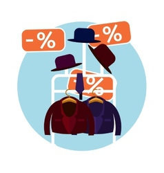 Clothes and a hat in the store vector