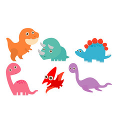 collection of cute cartoon dinosaurs vector image
