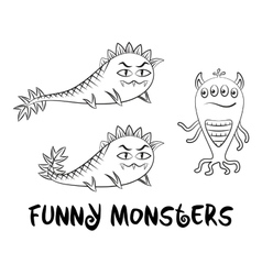 Contour Monsters Set vector