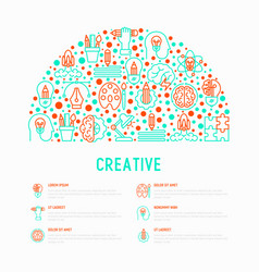 Creative concept in half circle vector