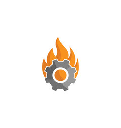 creative hot gear fire logo design vector image