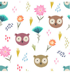 cute cartoon pattern with owl heads and flowers vector image