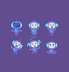 cute robot character set funny robotics in vector image