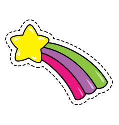 cute star with rainbow tail kids children kawaii vector image