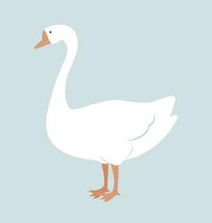 cute white goose cartoon vector image