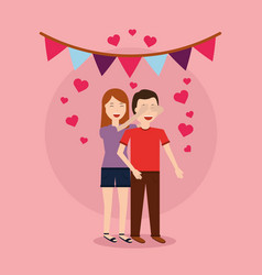 Cute woman giving surprise man love romantic heart vector