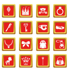 Doll princess items icons set red vector
