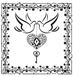 doves with flourishes and heart 2 vector image