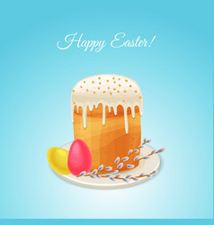 Easter holiday card in cartoon style vector