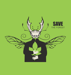 eco poster concept with planet in hands beetle vector image