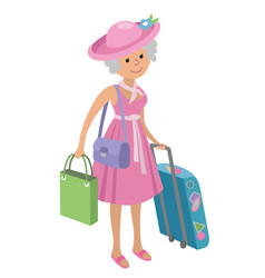 Elderly woman on shopping isolated vector