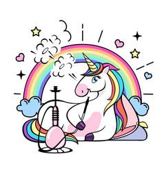 Fantasy animal horse unicorn with hookah vector