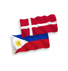 Flags denmark and philippines on a white vector