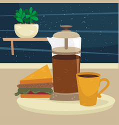 Flat french press with a cup coffee vector